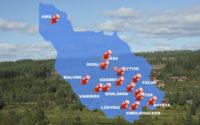 Detailed map of Sweden.