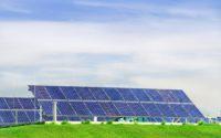 Photovoltaic power station, solar park. Group of solar panel.
